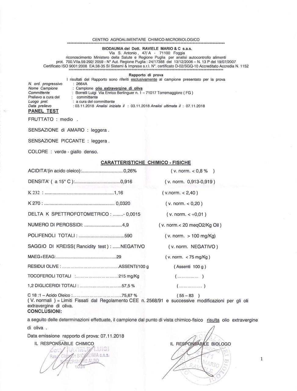 certificazione analisi organolettiche