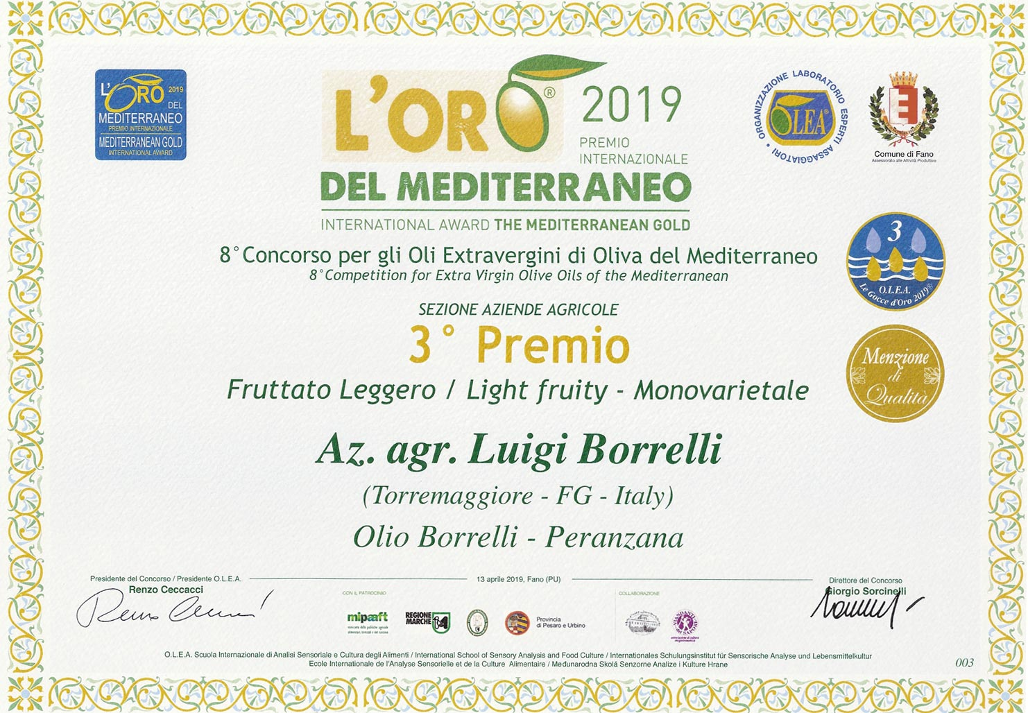 Oro del Mediterraneo 2019: 3 gocce d'oro con menzione di merito per Luigi Borrelli