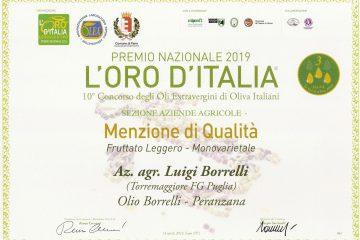 L'Oro d'Italia 2019, menzione di qualità per l'olio extravergine di oliva Borrelli